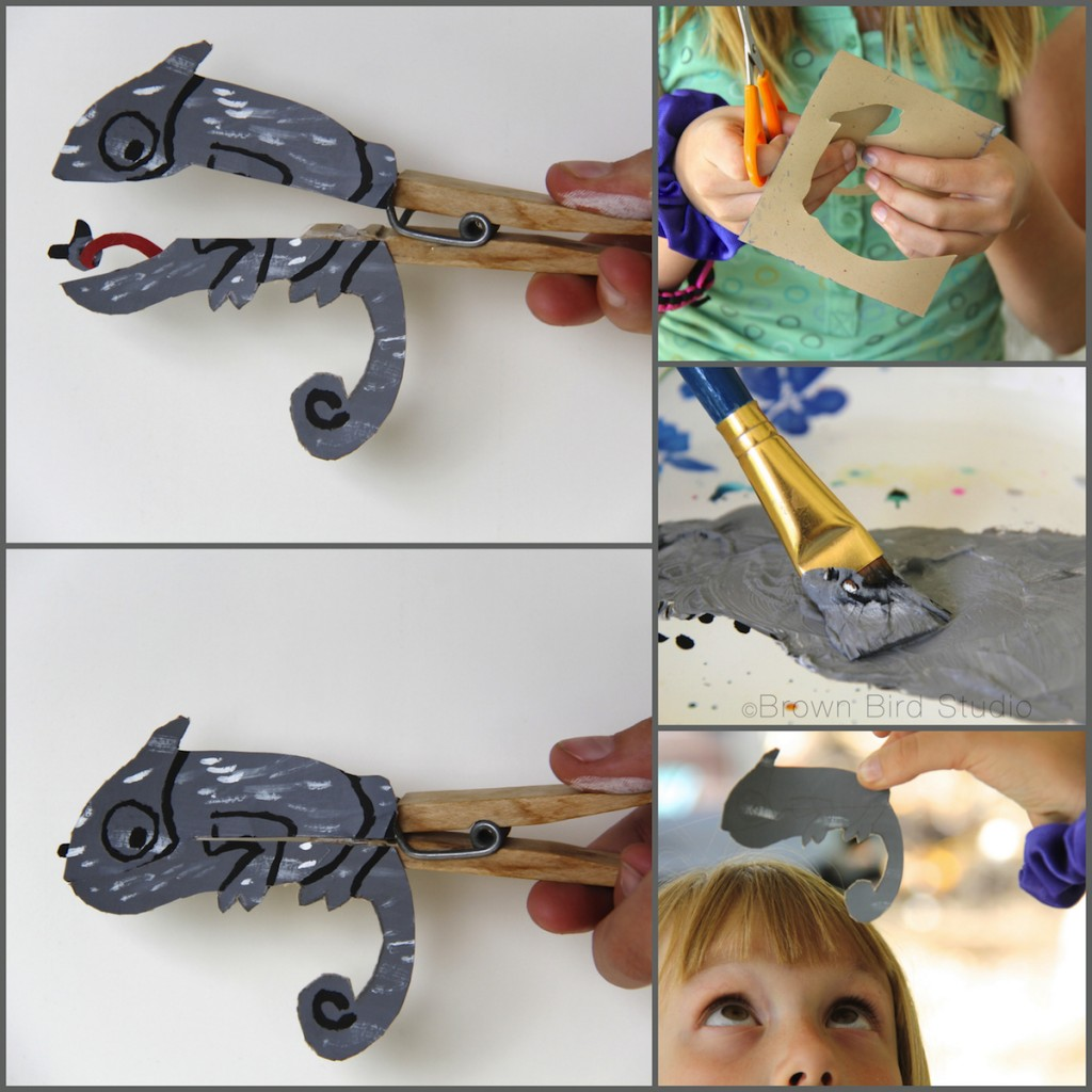 clothespin puppet chameleon